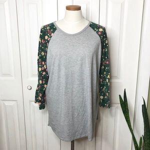 Lularoe floral sleeve Randy, light gray body